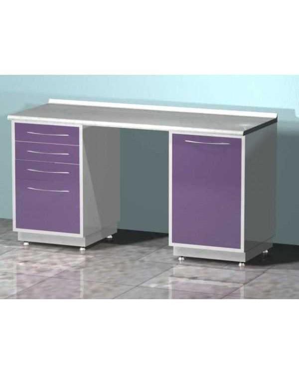 AR-L02 - стол лабораторный двухтумбовый (тумба с четырьмя выдвижными ящиками, тумба с распашной металлической дверью, между тумбами рабочая поверхность), на столешнице стекло
