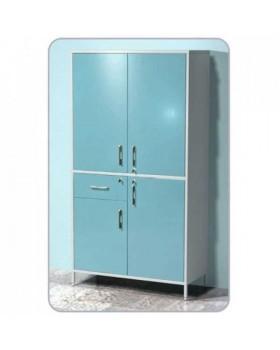 AR-X101 - шкаф с двумя распашными металлическими дверьми, двумя металлическими полками, выдвижным ящиком с замком, распашной металлической дверью с полкой, распашной металлической дверью, с замком, металлической с полкой