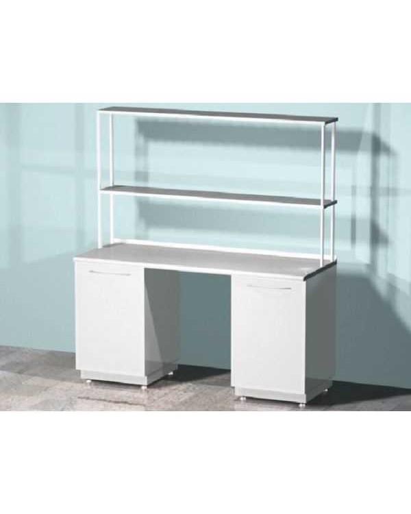 AR-L01N - стол лабораторный со стеллажом двухтумбовый (две тумбы с распашными металлическими дверями), на столешнице стекло