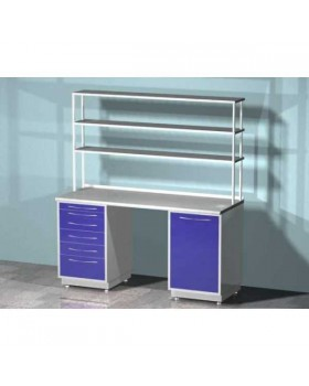 AR-L03N - стол лабораторный со стеллажом двухтумбовый (тумба с распашной металлической дверью, тумба с шестью выдвижными ящиками), на столешнице стекло