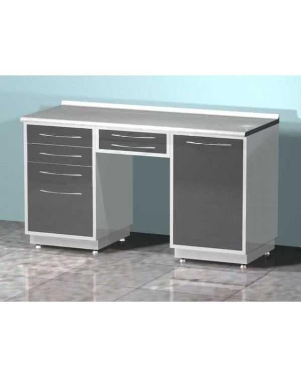 AR-L05 - стол лабораторный двухтумбовый (тумба с четырьмя выдвижными ящиками, тумба с распашной металлической дверью, два выдвижных ящика между тумбами), на столешнице стекло