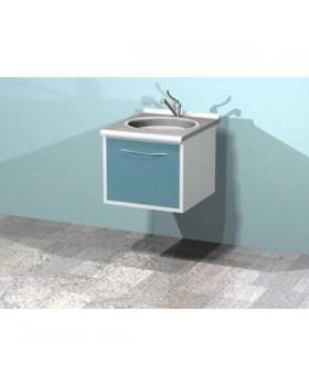 AR-T04 - металлическая настенная тумба с распашной металлической дверью, мойкой и смесителем