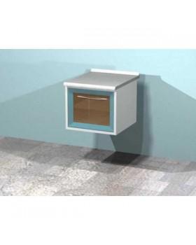 AR-T07C - металлическая настенная тумба с распашной застекленной дверью, двумя металлическими выдвижными полками, бактерицидной лампой