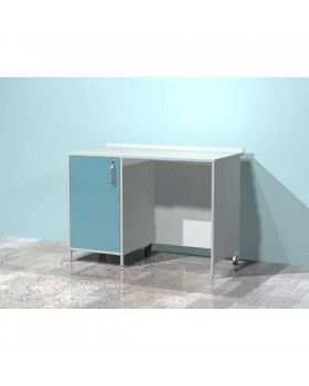 AR-XL31 - стол лабораторный металлический, тумба с распашной металлической дверью с замком, металлической полкой, стенки закрыты