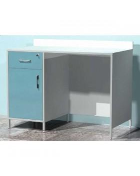 AR-XL47 - стол лабораторный с выдвижным ящиком с замком, с распашной металлической дверью и металлической полкой, стенки закрыты