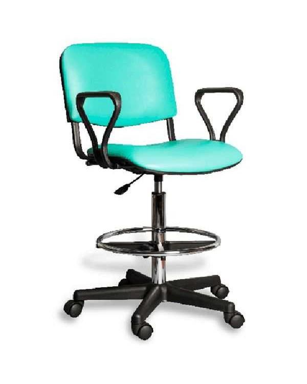AR-Z31BF - стул лабораторный c черной пластиковой основой и подножкой для ног