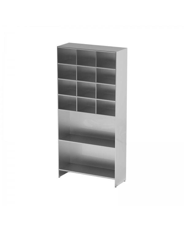 AT-S08 - шкаф-стеллаж для одноразовой одежды, нержавеющая сталь, 2 полки, 12 ячеек