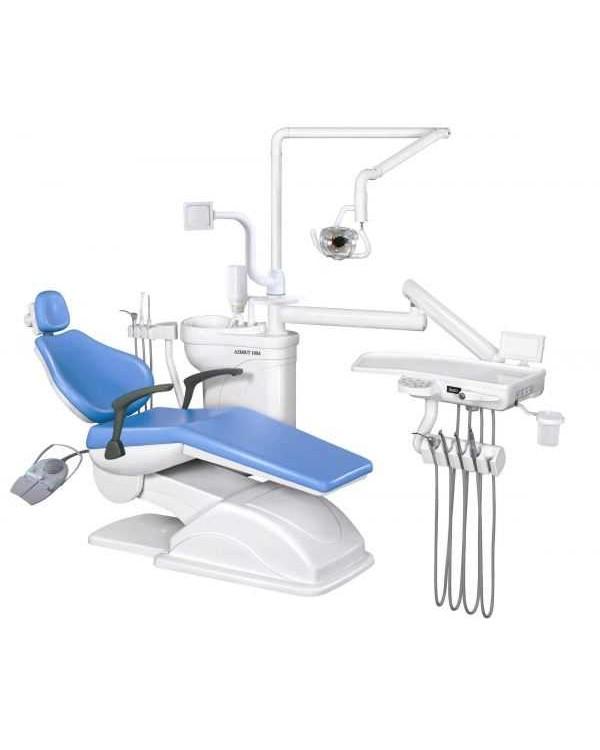 Azimut 100A - стоматологическая установка с верхней подачей инструментов и двумя стульями
