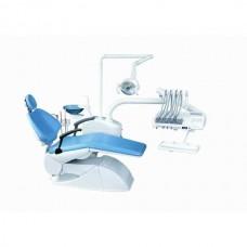 Azimut 200A MO - стоматологическая установка с верхней подачей инструментов, мягкой обивкой кресла и двумя стульями