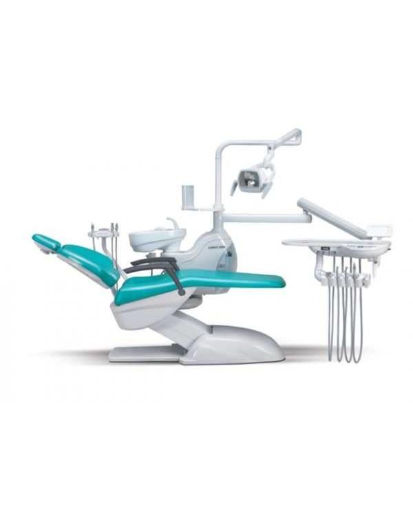 Azimut 400A Classic MO - стоматологическая установка с нижней подачей инструментов, мягкой обивкой кресла и двумя стульями