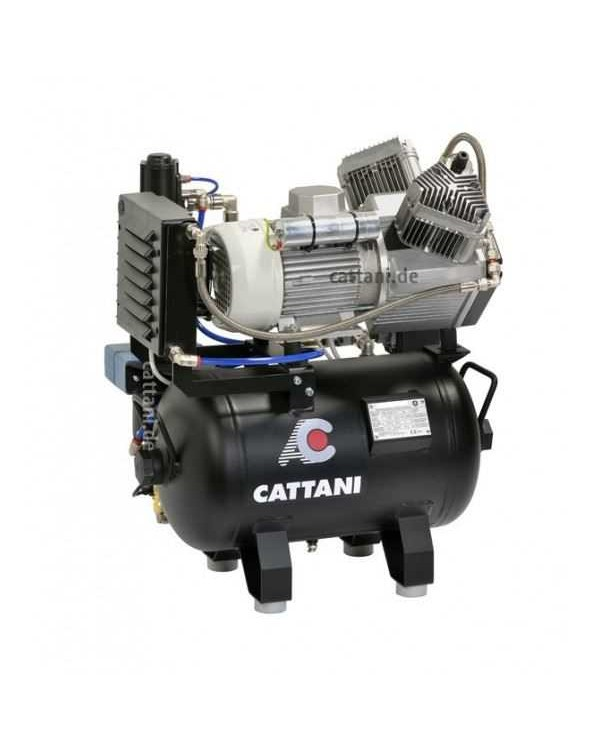 Cattani 30-160 - безмасляный компрессор для 2-х стоматологических установок, c осушителем, без кожуха, с ресивером 30 л, 160 л/мин