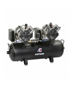 Безмасляный компрессор с 2-мя осушителями для 5-6 стоматологических установок Cattani 100-320 без кожуха с ресивером 100 л, 320 л/мин типа тандем, трехфазный