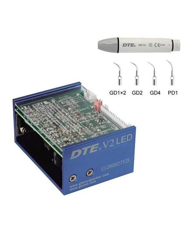 DTE-V2 LED - встраиваемый ультразвуковой скалер с фиброоптикой, герметичный съемный наконечник, 5 насадок в комплекте