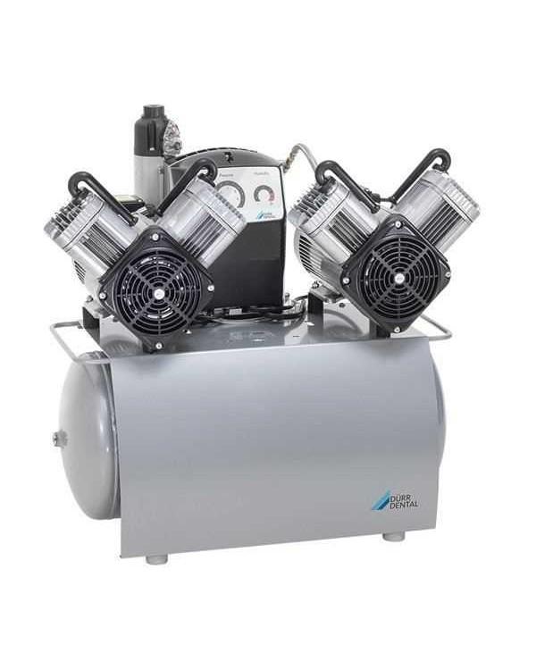DUO Tandem - безмасляный компрессор с одним агрегатом для 3-x стоматологических установок с осушителем, с электронным блоком контроля, 105 л/мин