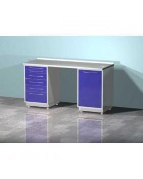 AR-L03 - стол лабораторный двухтумбовый (тумба с шестью выдвижными ящиками, тумба с распашной металлической дверью, между тумбами рабочая поверхность), на столешнице стекло