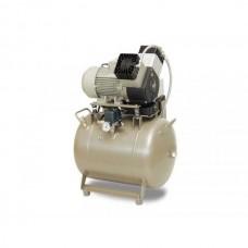 EKOM DK50 2V/50 (2V/50S) - безмасляный компрессор для 2-x стоматологических установок без осушителя, с ресивером 50 л (140 л/мин)