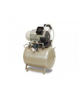 EKOM DK50 2V/50/M (2V/50/SM) - безмасляный компрессор для 2-x стоматологических установок с осушителем, с ресивером 50 л (120 л/мин)