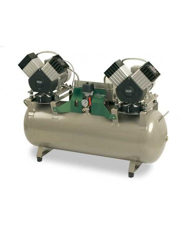 EKOM DK50 2X2V/110 - безмасляный компрессор для четырех стоматологических установок (270 л/мин)