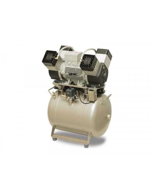 EKOM DK50 4VR/50 (4VR/50S) - безмасляный компрессор для 4-x стоматологических установок без осушителя, с ресивером 50 л (270 л/мин)