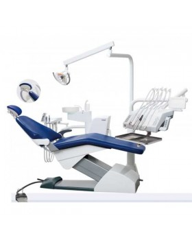 Fona 1000 L - стоматологическая установка с нижней подачей инструментов, пистолет, 3 шланга без оптики, 1 свободное гнездо, мультипедаль, панель ассистента