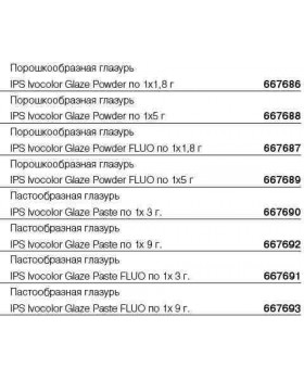 667693 Глазурь пастообразная флюоресцентная IPS Ivocolor Glaze Paste FLUO 9г.