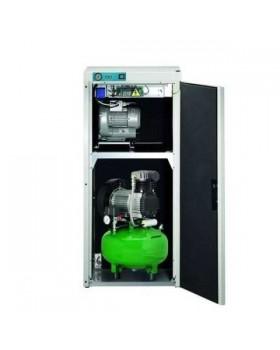 KD 224 AB - комбинированный безмасляный компрессор для 2-х стоматологических установок с отсасывающим агрегатом, с кожухом, с ресивером 24 л (100 л/мин)