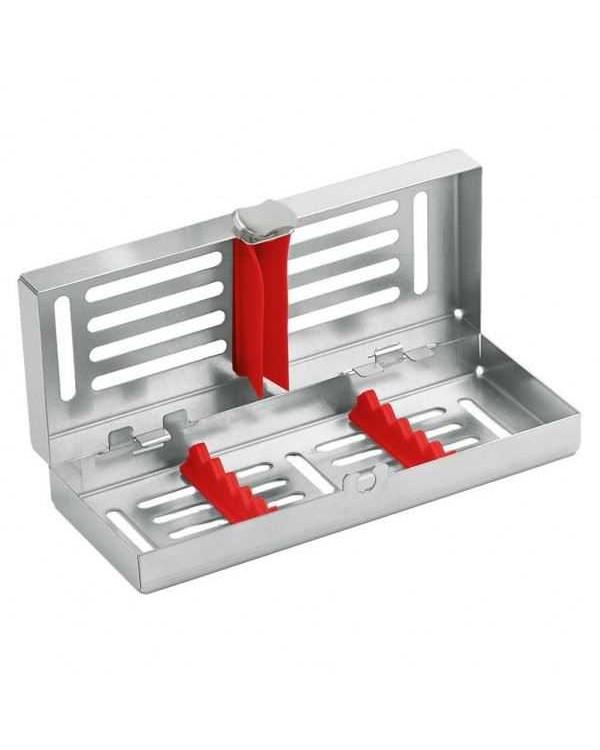 Лоток на 5 инструментов с силиконовой внутренней рамкой красной,запирающийся, 182*72*34 мм
