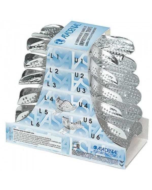 Ложка слепочная, набор 12 штук, с перфорацией без бортиков алюминиевая