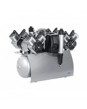 Quattro Tandem - безмасляный компрессор с двумя агрегатами для 10-ти стоматологических установок с осушителем, с электронным блоком контроля, 420 л/мин