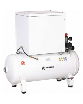 REMEZA KM-100.OLD15ТK - компрессор для 4-x стоматологических установок, без осушителя, с кожухом, с ресивером 100 л, 270 л/мин, тандем