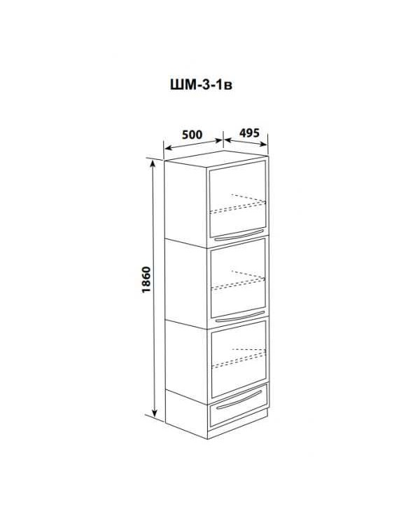 ШМ-3-1в - шкаф одностворчатый 3 дверцы металл (3 полки) и 1 выдвижной ящик 1860х500х495 мм