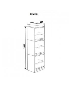 ШМ-3д - шкаф одностворчатый 3 дверцы металл (3 полки) 1860х500х495 мм