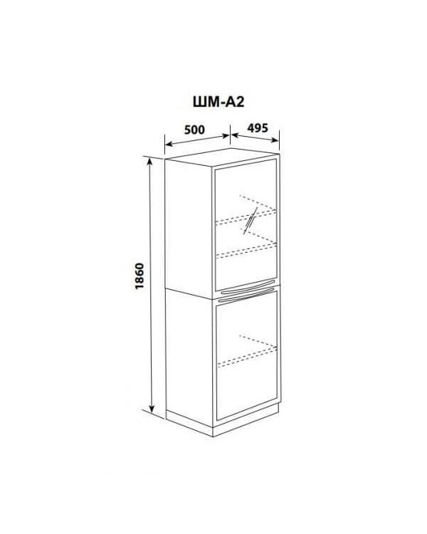 ШМ-А2 - шкаф одностворчатый, верх - дверь стекло прозрачное в металлическом обрамлении и 2 полки, низ дверь металл и одна полка 1860х500х495 мм