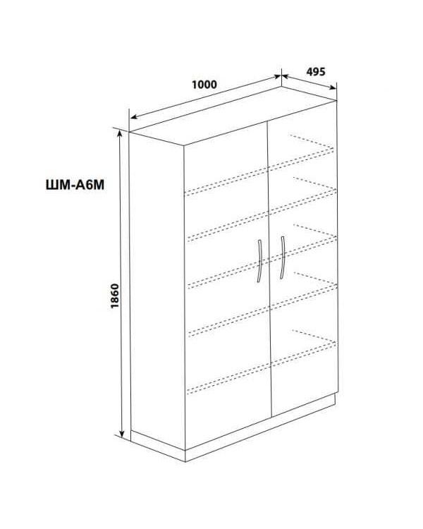 ШМ-А6м - шкаф двухстворчатый 6 полок (дверцы - металлические) 1860х1000х495 мм