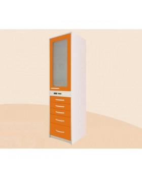 ШМ-ТХСИ-3-В5 - шкаф бактерицидный, верх - дверь из прозрачного стекла в металлическом обрамлении и 3 полки, лампа Philips, низ - 5 выдвижных ящиков 1860х500х495 мм