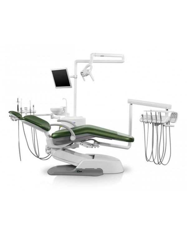 Siger U500 - стоматологическая установка с нижней подачей инструментов, с электромеханическим креслом и креплением блока на шарнире под креслом