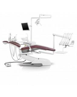 Siger U500 - стоматологическая установка с верхней подачей инструментов, с электромеханическим креслом и креплением блока на шарнире под креслом