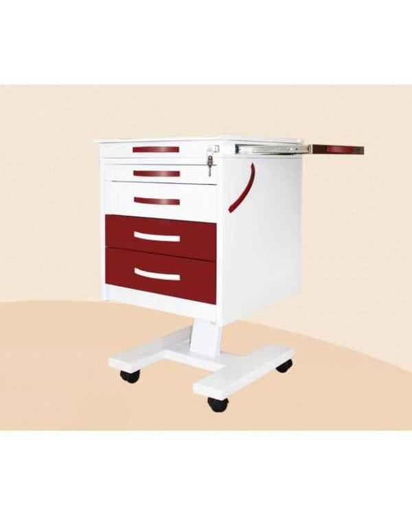 СП-1-4С-З - стол подкатной с 4 ящиками, выдвижной столик из нерж. стали, центральный замок (стекло прозрачное) 830х510х525 мм