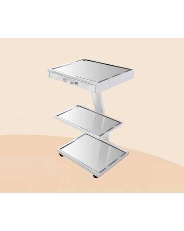 СП1в-Д2 - стойка для дополнительного оборудования с выдвижным ящиком (2 полки из нержавеющей стали, верх стекло прозрачное)