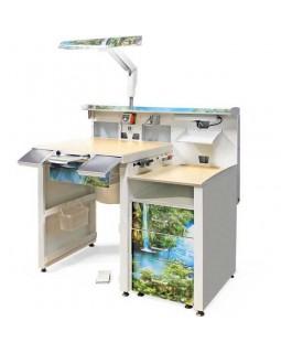 СЗТ 1.3 ЛОРЕЛЕЯ - стол зубного техника серии МАСТЕР с двухуровневой столешницей в полностью металлическом исполнении
