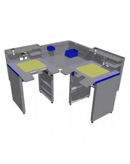 СЗТ 4.2 МАСТЕР КОНЕР - угловой стол для зубного техника на 2 рабочие зоны
