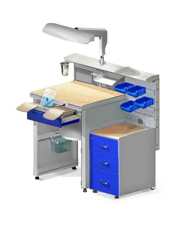 СЗТ 4.3 МАСТЕР КОМФОРТ - стол зубного техника на базе СЗТ 4.3 МАСТЕР МИНИ, объединенный с тумбой ТУМБА 1.1 М