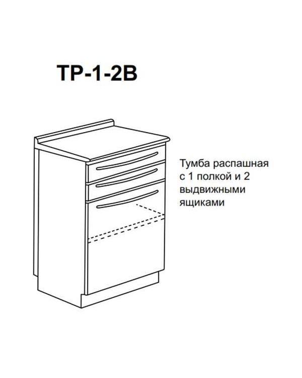 ТР-1-2В - тумба распашная с одной полкой и двумя выдвижными ящиками 850х500х600 мм