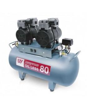 W-604 - безмасляный компрессор для двух стоматологических установок с ресивером 80 л (170 л/мин)