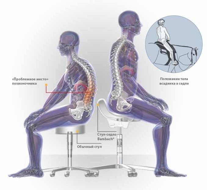 эрготерапевтический специальный стул-седло со спинкой